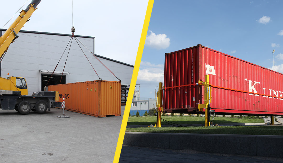 Container lifting jacks vs standard cranes
