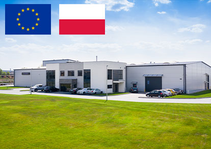 Our headquarter photo with UE and Poland flag