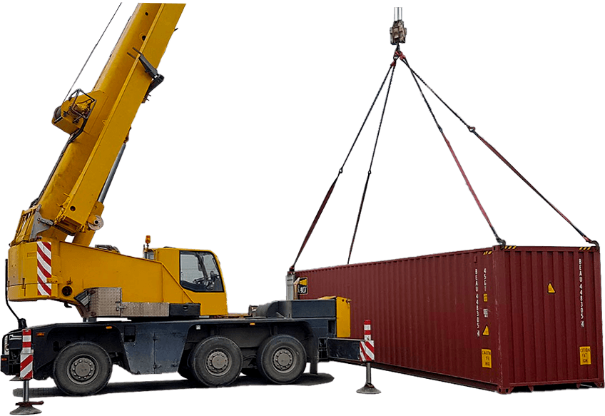 Crane while lifting a sea container